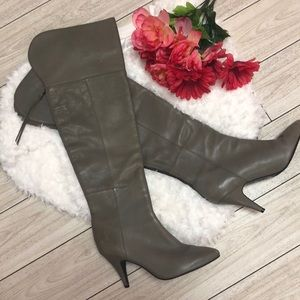 Zara Grey leather over the knee boots W/ low heel